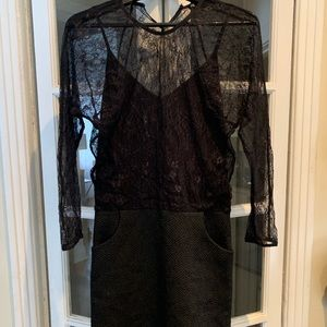 Maje black lace dress. Size small